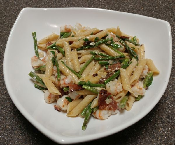 Pasta with Shellfish, Bacon, & Asparagus