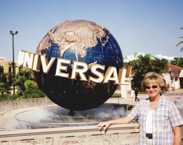 Susan and the globe at Universal Studios, Orlando