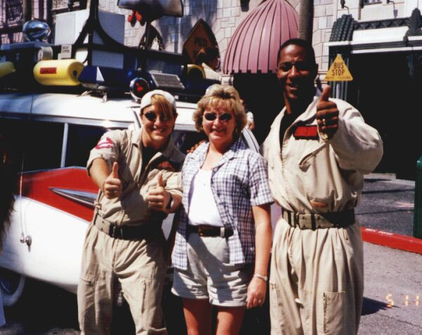 Susan and the Ghostbuster guys at Universal Studios, Orlando